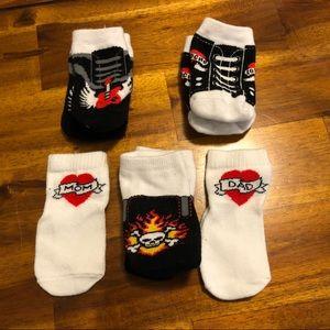 Rock 'n Roll Skulls Tattoos Baby Socks (Lot of 5)